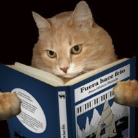 "gato leyendo novela ""Fuera hace frío"" de Juan Gómez-Pintado"