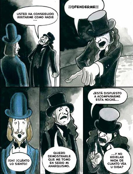 """Página del cómic """"El hombre que fue Jueves"""" de Marta Gómez-Pintado, adaptación de la novela de G. K. Chesterton"""