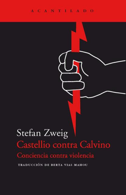 Castellio contra Calvino. Portada del libro. Una mano dibujada que sujeta un rayo