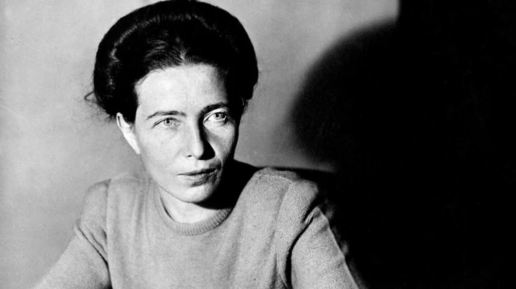 Retrato de Simone de Beauvoir en blanco y negro