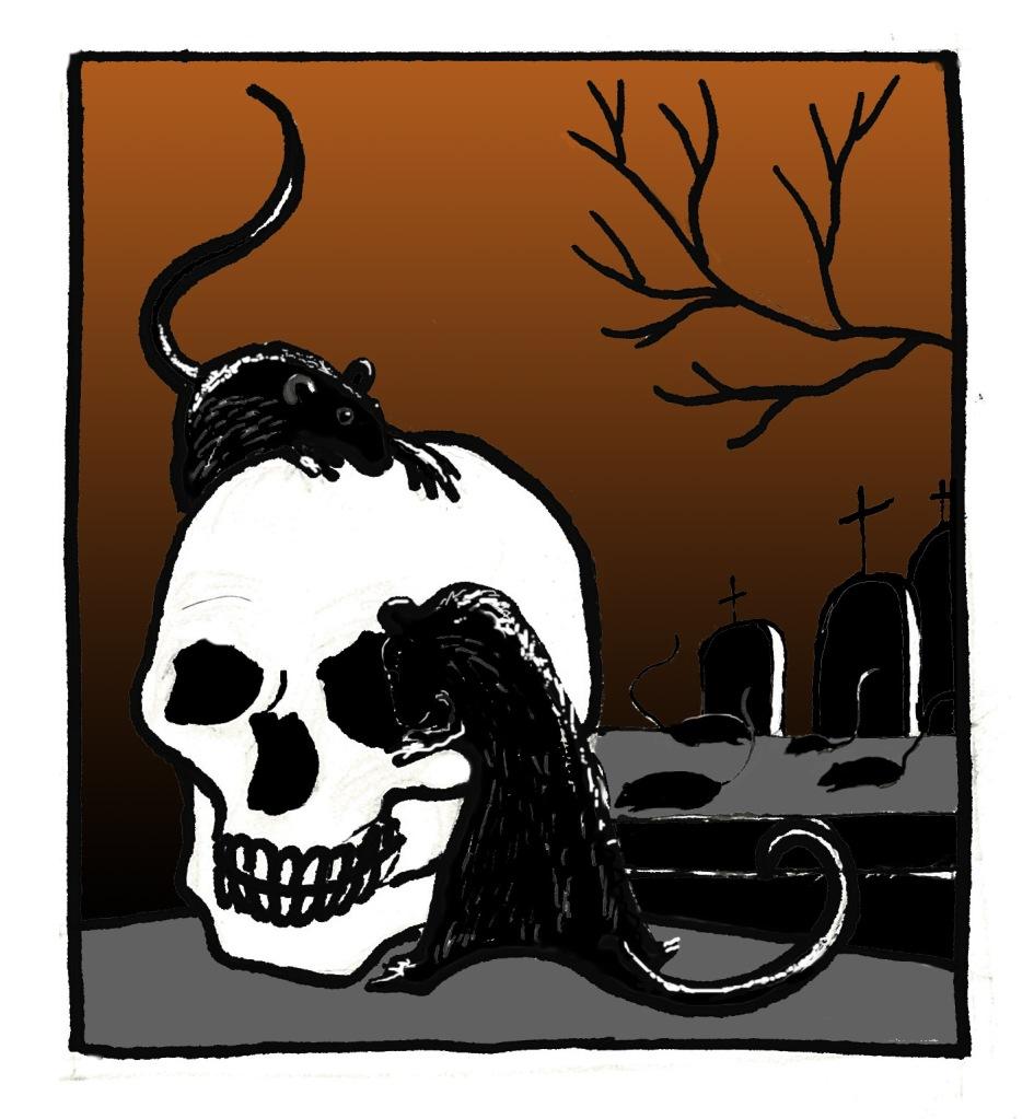 Ilustración de Marta Gómez-Pintado: calavera, ratas y tumbas.