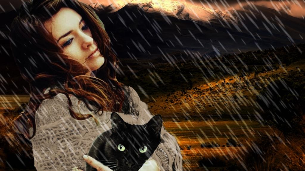 """Fotomontaje inspirado en """"Fuera hace frío"""": Noelia, la gata y la lluvia"""