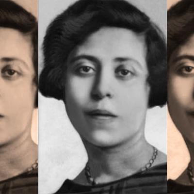 Retrato de Irène Némirovsky repetida su imagen tres veces
